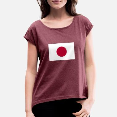 Japan Flag Flag of Japan - Women's Roll Cuff T-Shirt