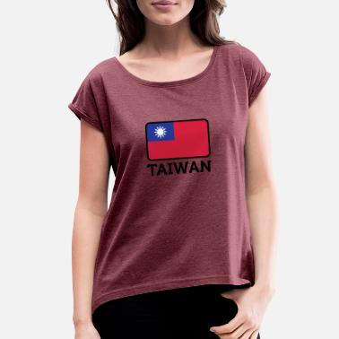Hakka National Flag Of Taiwan - Women's Roll Cuff T-Shirt