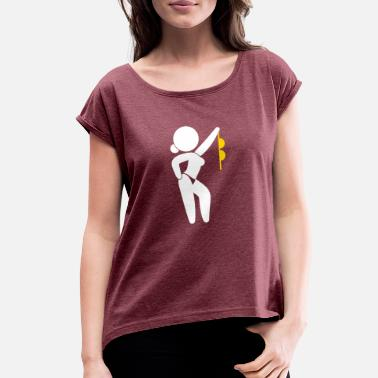 Sensual Stripper A Stripper Taking Off Her Bra! - Women's Roll Cuff T-Shirt