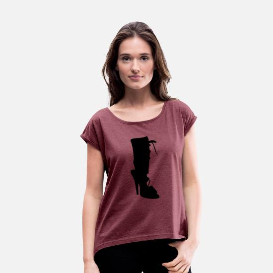 Woman Power T-Shirts - Vector highheels Silhouette - Women's Rolled Sleeve T-Shirt heather burgundy