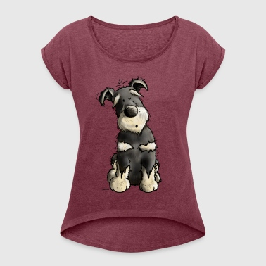 Little Schnauzer - Dog - Dogs - Comic - Gift - Women's Roll Cuff T-Shirt