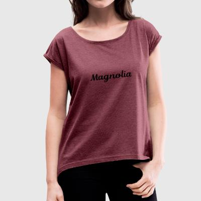 Magnolia Abstract Design. - Women's Roll Cuff T-Shirt