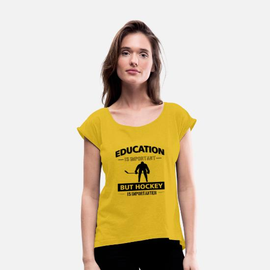 Ice T-Shirts - Funny Hockey - Women's Rolled Sleeve T-Shirt mustard yellow