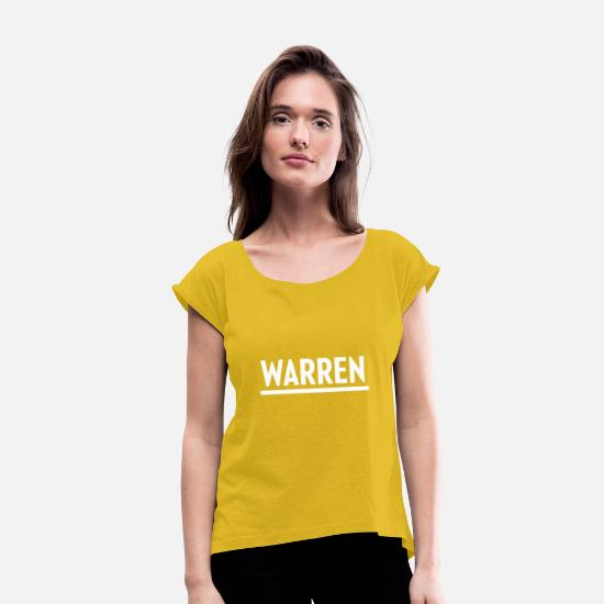 Patriot T-Shirts - Elizabeth Warren 2020 presidential campaign logo w - Women's Rolled Sleeve T-Shirt mustard yellow