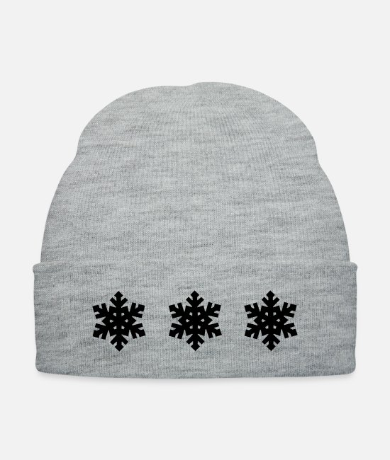 Pattern Caps & Hats - Snowflake Pattern - Christmas - Knit Cap heather gray