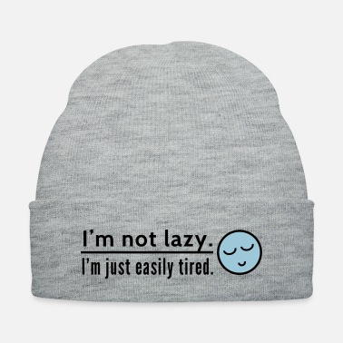 Lazy i am not lazy with sleeping emoticon - Knit Cap