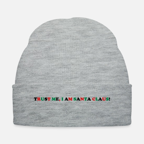 Santa Claus Caps - Trust me I am Santa Claus Costume Statement Funny - Knit Cap heather gray