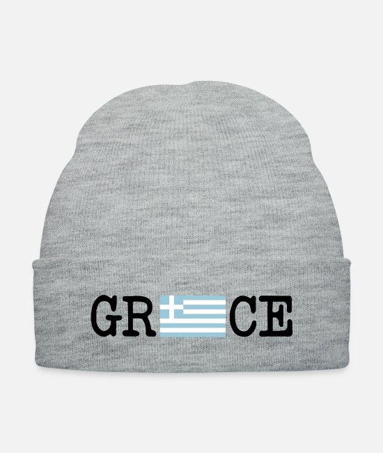 Greece Caps & Hats - greece_flag__f3 - Knit Cap heather gray