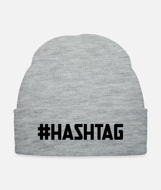 Social Caps & Hats - Hashtag Social Media Word - Knit Cap heather gray