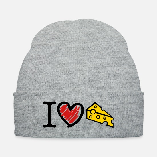 Love Caps - cheese_love_t3 - Knit Cap heather gray