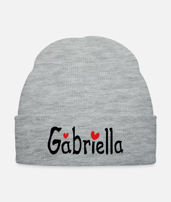 Red Caps & Hats - Name Gabriella txt hearts vector graphic line art - Knit Cap heather gray