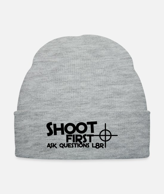 Shooter Caps & Hats - shoot first ask questions L8R later with a target - Knit Cap heather gray