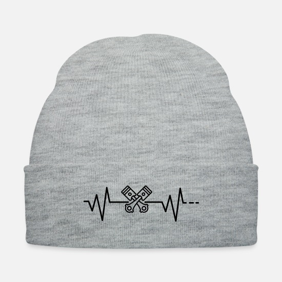V8 Caps - Heartbeat piston push rod car engine engineering - Knit Cap heather gray