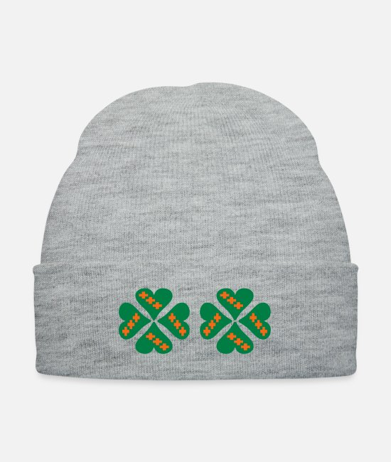 Holy Bible With A Hearted Cross Vector Design For Caps & Hats - ❤†Holy Cross Clovers-Undying Love for Jesus†❤ - Knit Cap heather gray