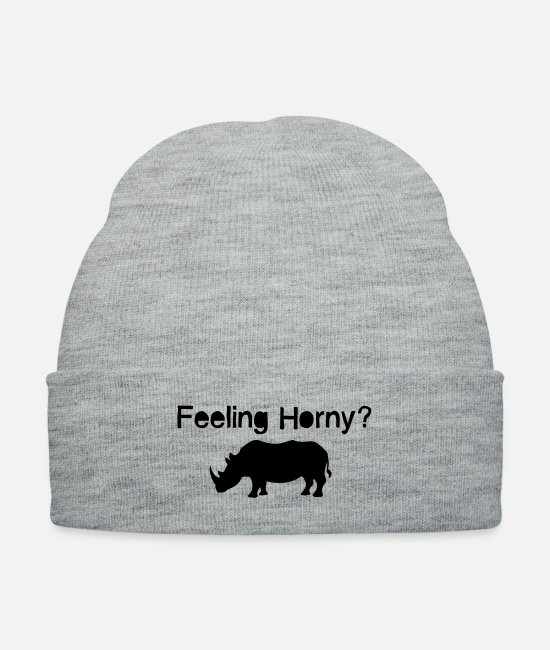 Crest Caps & Hats - Rhino / Feeling Horny? 1c - Knit Cap heather gray
