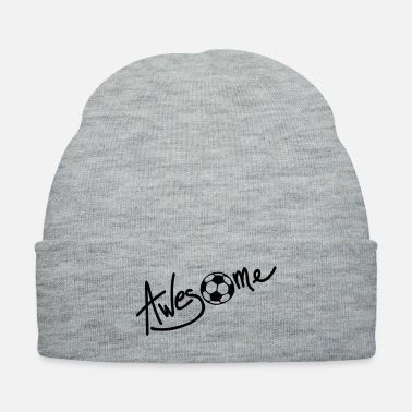 Football Team Awesome football text logo - Knit Cap