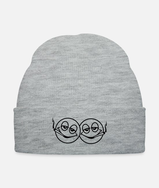 Drugs Caps & Hats - Smoking Smileys - Knit Cap heather gray