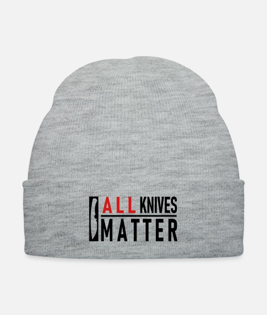 Knife Caps & Hats - ALL Knives Matter - Knit Cap heather gray