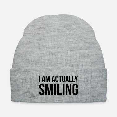 Meme I AM ACTUALLY SMILING funny quote slogan gift - Knit Cap