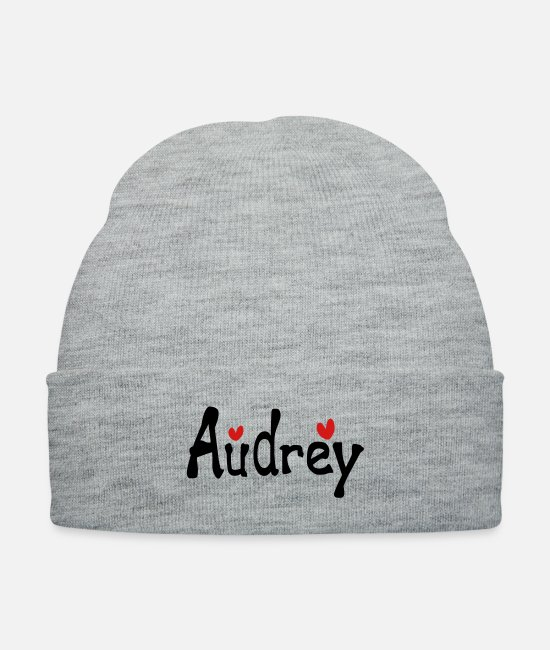Heart Caps & Hats - Name Audrey txt hearts vector graphic line art - Knit Cap heather gray