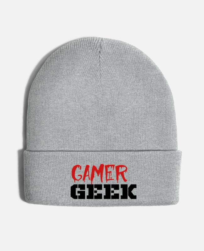 Mum Caps & Hats - gamer geek - Knit Cap heather gray