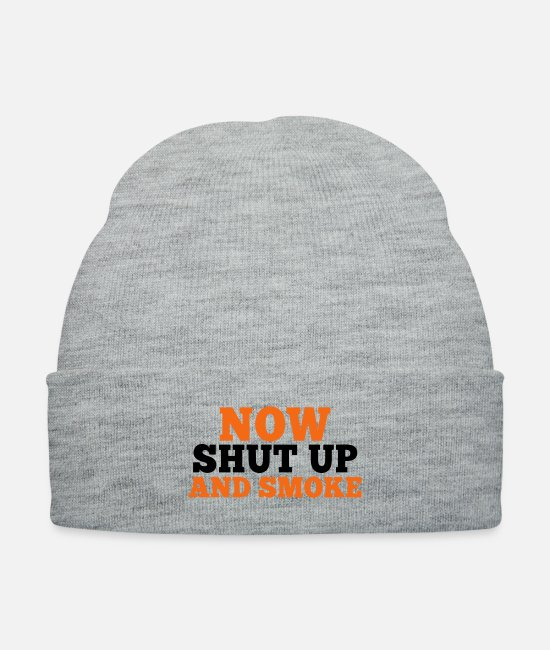 Cigarette Caps & Hats - now shut up and SMOKE - Knit Cap heather gray