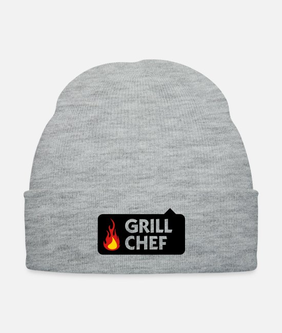 Grill Caps & Hats - I am the Grill Chef! - Knit Cap heather gray