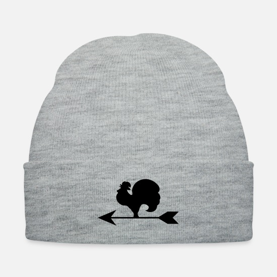 Chicken Caps - Rooster Weather Vane Silhouette - Knit Cap heather gray