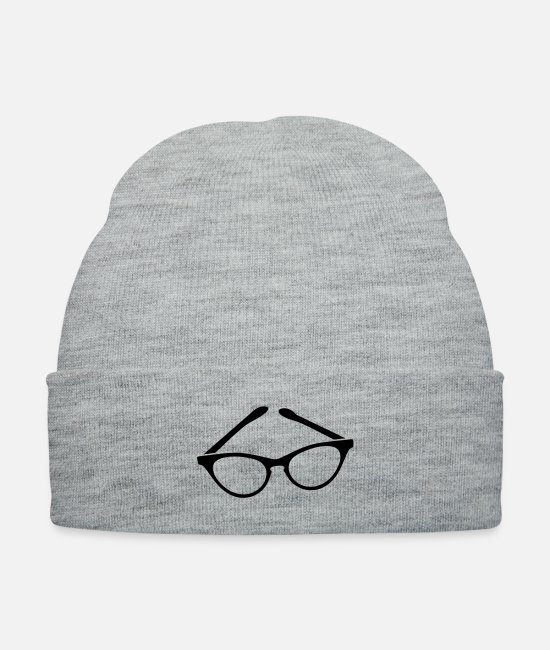 Designer Caps & Hats - retro funky seeing eye cat eyes glasses librarian - Knit Cap heather gray