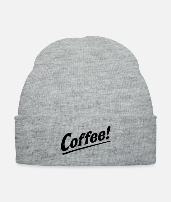 Drawing Caps & Hats - Coffee! Love Java Cool Retro Vintage Coffee - Knit Cap heather gray