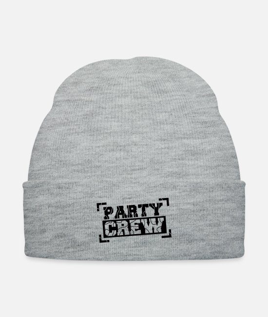 Celebrate Caps & Hats - Party Crew Design - Knit Cap heather gray
