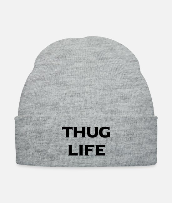 Hood Rat Caps & Hats - thug life - Knit Cap heather gray