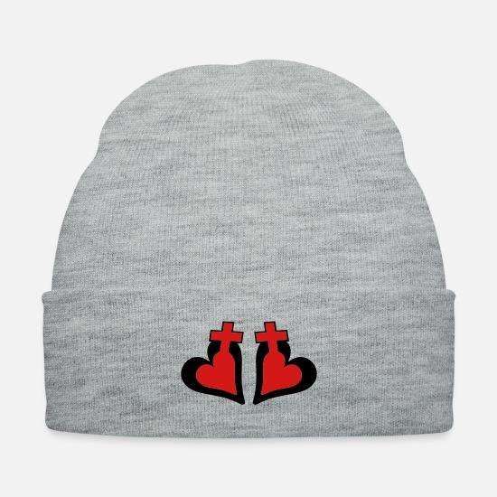 Holy Bible With A Hearted Cross Vector Design For Caps - ❤†Holy Crosses with Passionate Hearts-Love Jesus†❤ - Knit Cap heather gray