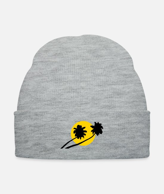 Sunset Caps & Hats - Palm trees in sunset - V2 - Knit Cap heather gray