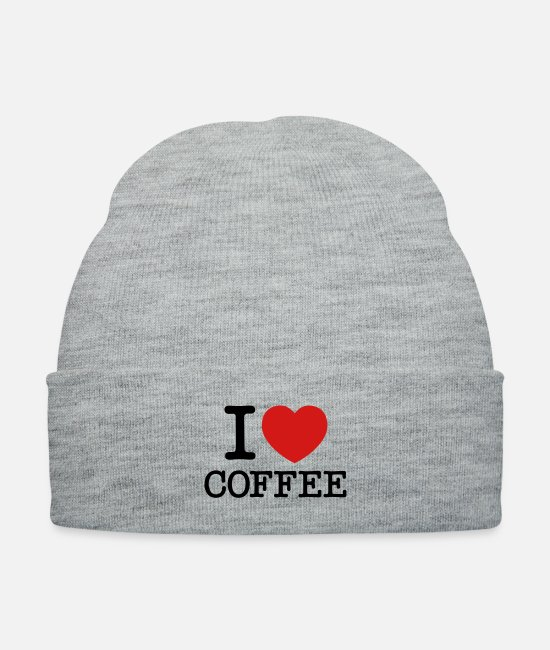 Heart Caps & Hats - I Love Coffee - Knit Cap heather gray