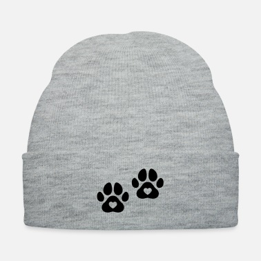 Paw Dog paws with a heart - Knit Cap