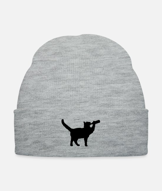 Hipster Caps & Hats - Party Cat with headphones drinks beer alcohol - Knit Cap heather gray