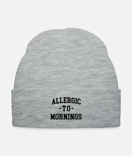 Quote Caps & Hats - Allergic To Mornings Funny Quote - Knit Cap heather gray