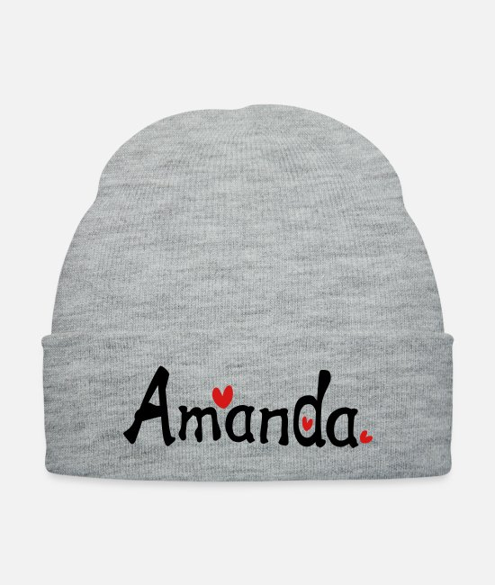 Red Caps & Hats - Name Amanda txt hearts vector graphic line art - Knit Cap heather gray
