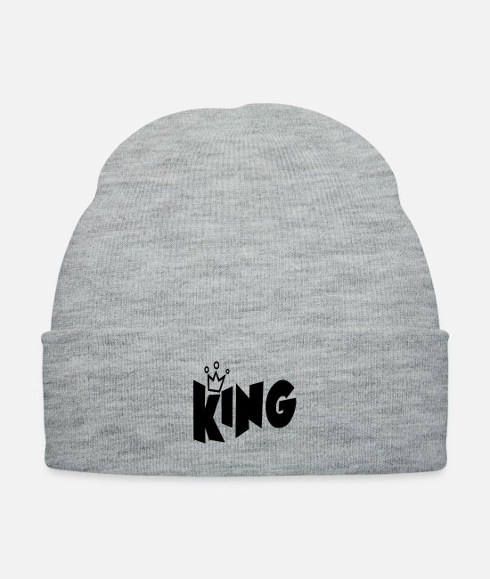 Crown Caps & Hats - King Typography Crown T-shirt - Knit Cap heather gray