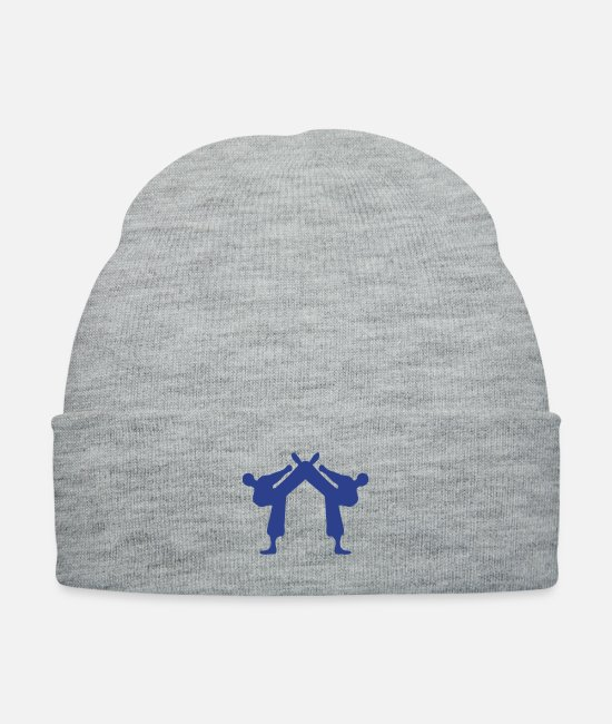 Leg-kicking-skill Caps & Hats - ۞»♥Karate bout-Vector Design♥«۞ - Knit Cap heather gray