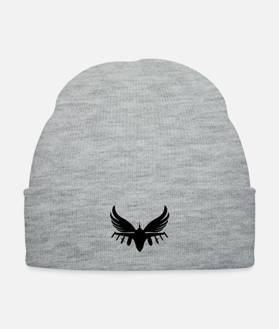 Fighter Caps & Hats - Fighter Jet With Angel Wings - Knit Cap heather gray