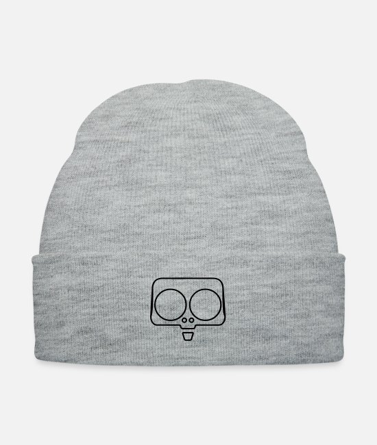 Hipster Caps & Hats - Funny Skull - Knit Cap heather gray