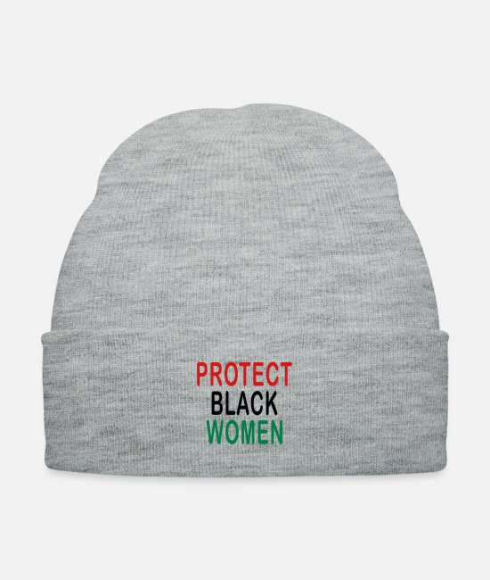 Black History Month Caps & Hats - Protect Black Women T-shirts - Knit Cap heather gray