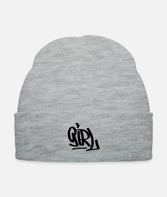 Girl Caps - Girl graffiti - Knit Cap heather gray