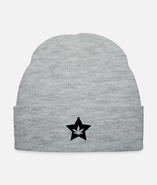 High Caps & Hats - Cannabis Star - Knit Cap heather gray