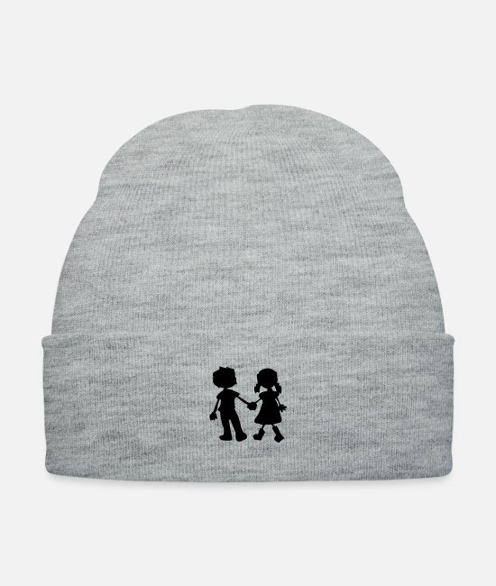 Hands Caps & Hats - Boy & girl couple - Knit Cap heather gray