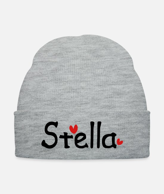 Red Caps & Hats - Name Stella txt hearts vector graphic line art - Knit Cap heather gray