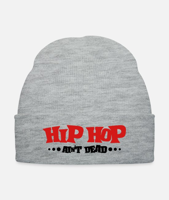 Rap Caps & Hats - hip_hop_aint_dead__f2 - Knit Cap heather gray