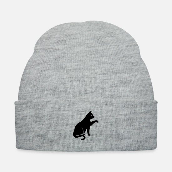 Animal Caps - cat silhouette - Knit Cap heather gray
